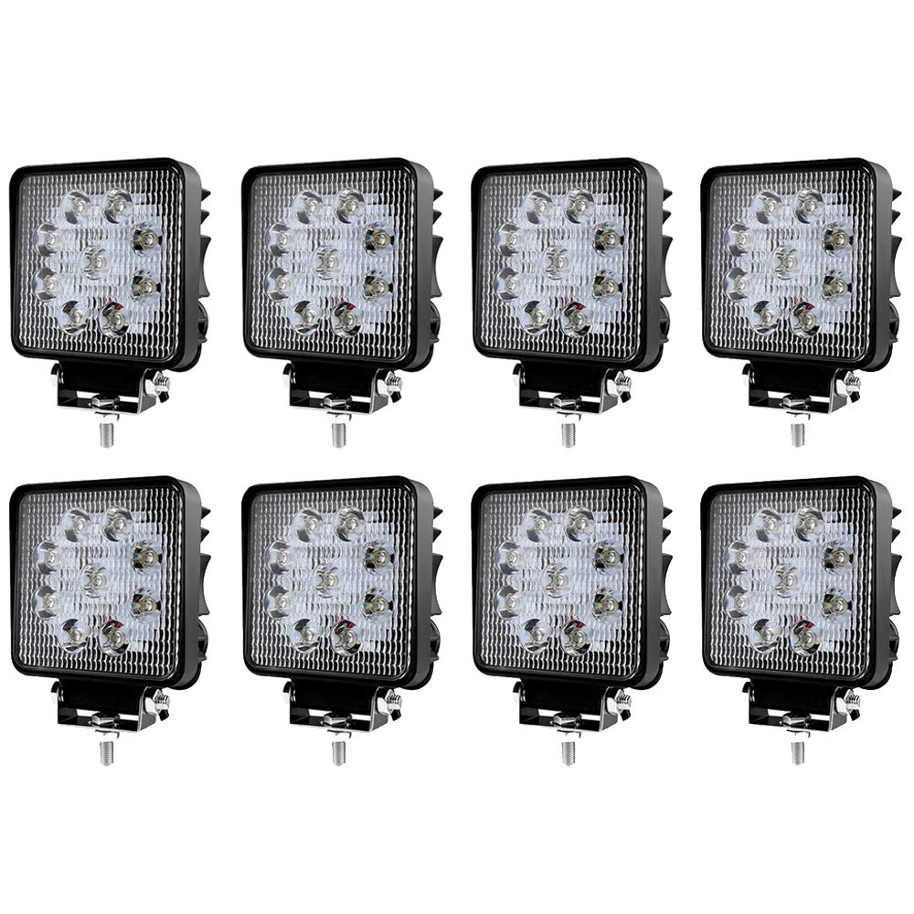 2 St/ück LED Scheinwerfer 27W Arbeitsscheinwerfer Arbeitslicht IP67 Flutlicht SUV Abstrahlwinkel 60 Grad 2430LM Wei/ß R/ückfahrscheinwerfer