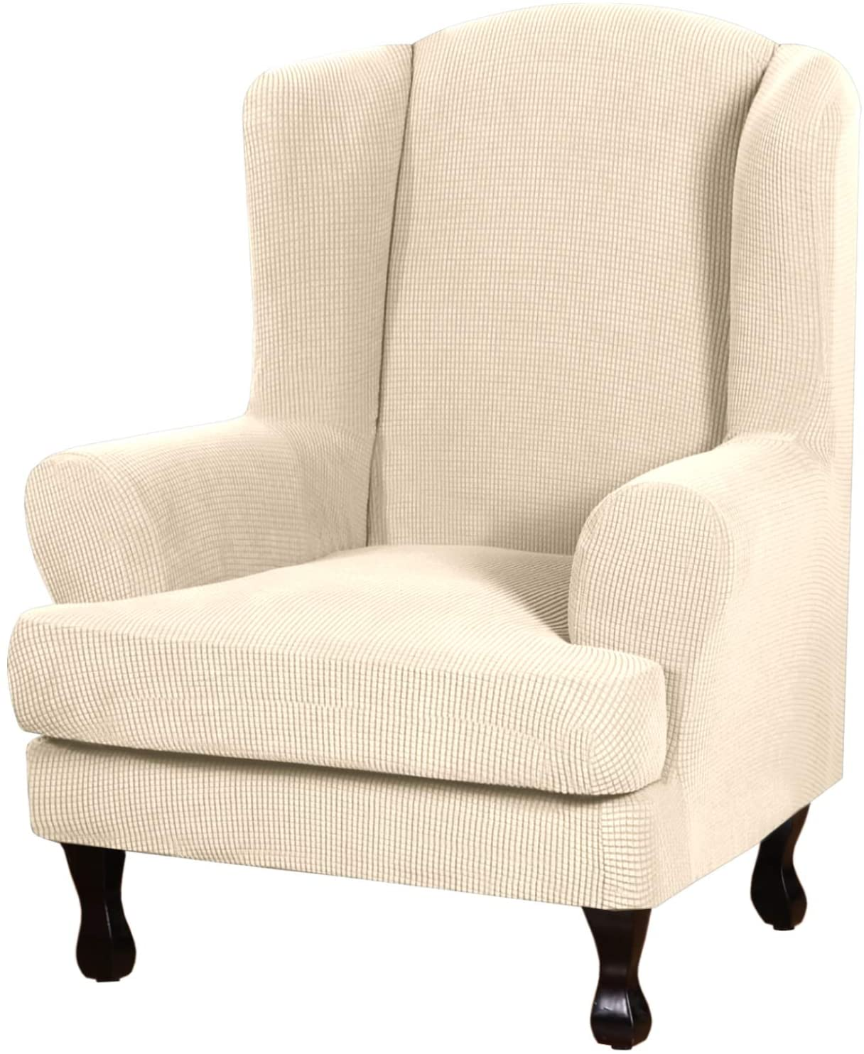 2 Piece Stretch Jacquard Wingback Chair Covers Slipcovers Wing Chair Covers (Base Cover Plus Seat Cushion Cover) Furniture Covers for Wingback Chairs, Form Fitted Thick Soft, Biscotti Beige