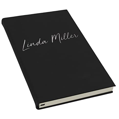The Wedding Party Store Personalized Journal Notebook Custom Engraved Travel Writers Gift For Women Men Kids Teachers Students Black With Silver