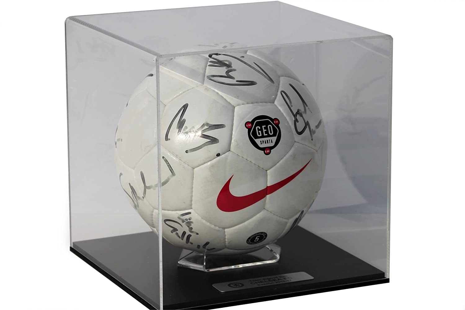 Acrylic Football Display Case with Primo black base and FREE personalised plaque Dream Keepers Ltd