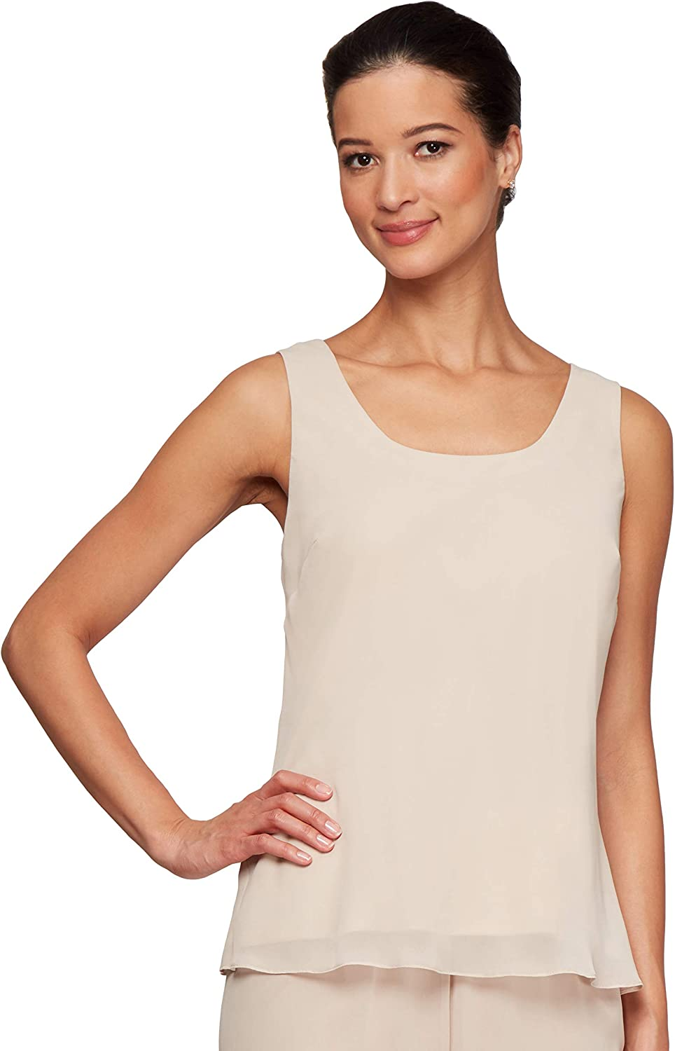 Alex Evenings Women's Metallic Twinset Tank Top and Jacket Petite and Regular Blouse Taupe Waffle Knit