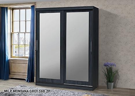 worldwide furniture Armario de puerta corredera con espejo completo de todo el mundo, color gris, madera, 160 cm: Amazon.es: Hogar