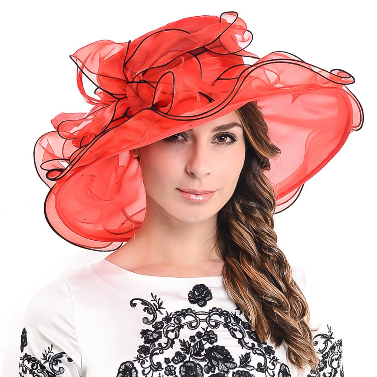 Womens Kentucky Derby Church Dress Wedding Floral Tea Party Hat S056 (Red)