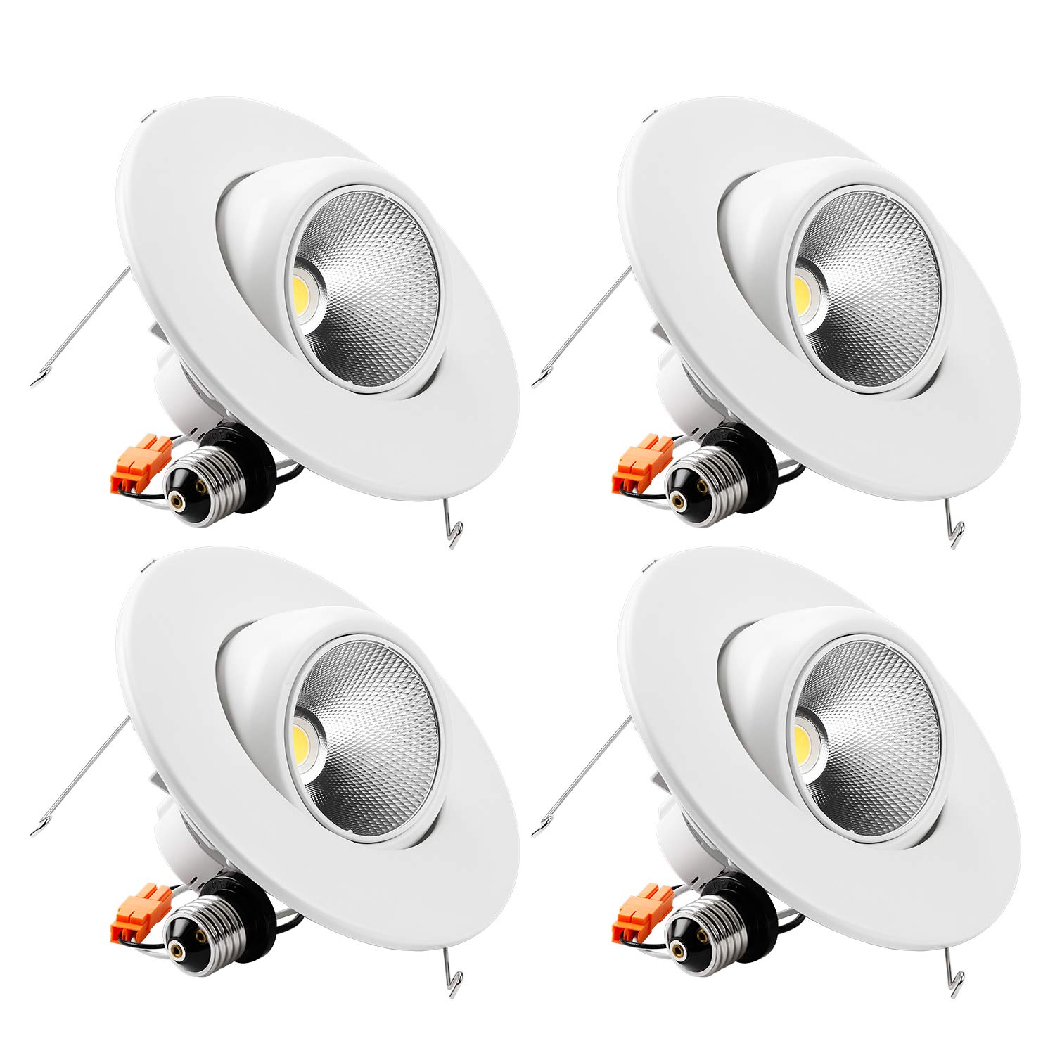 TORCHSTAR High CRI90+ 6inch Dimmable Gimbal Recessed LED Downlight, 10W (75W Equiv.), ENERGY STAR, 5000K Daylight, 950lm, Adjustable LED Retrofit Lighting Fixture, 5 YEARS WARRANTY, Pack of 4 by TORCHSTAR (Image #1)