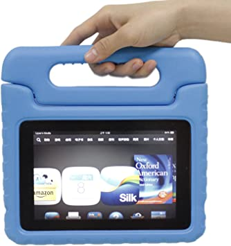 Amazon Com Kindle Fire Hd 7 2nd Generation 2013 Release Case Simplewaylight Weight Super Protection Convertible Stand Cover Case Kids Friendly Blue Electronics