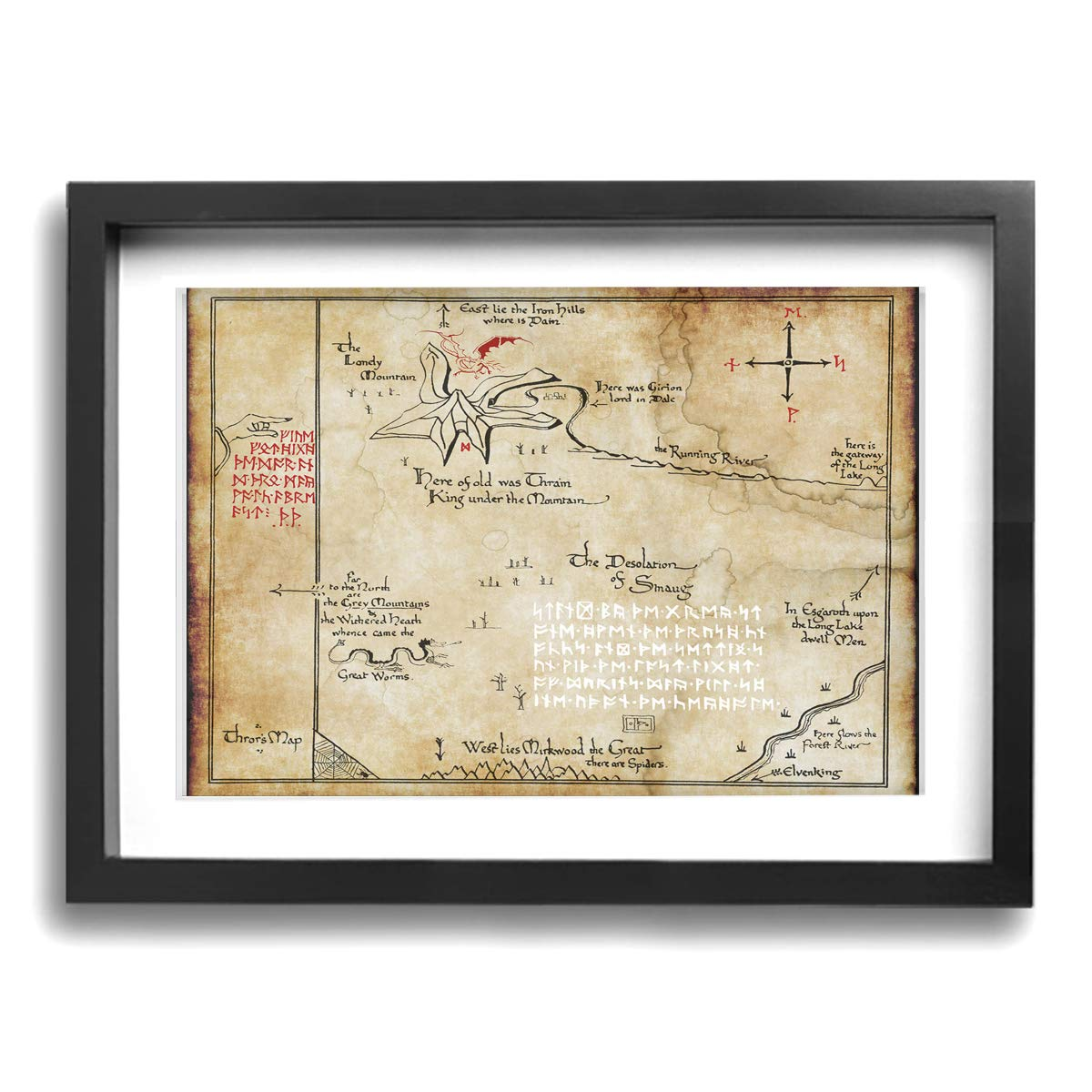"LP ART Thorins Map - Lord of The Rings Photo Drawing Printed Art Poster Modern Home Decor Wall Art Home Decorations for Home Or Office Decorations 12""x16"" Black Framed"