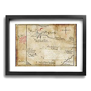"""LP ART Thorins Map - Lord of The Rings Photo Drawing Printed Art Poster Modern Home Decor Wall Art Home Decorations for Home Or Office Decorations 12""""x16"""" Black Framed"""