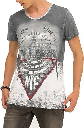 trueprodigy Casual Hombre Marca Camiseta con impresión Estampada Ropa Retro Vintage Rock Vestir Moda Cuello Redondo Manga Corta Slim fit Designer Fashion t-Shirt: Amazon.es: Ropa y accesorios