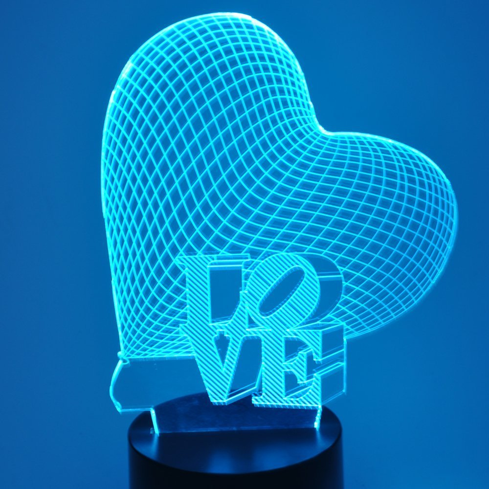 (2 in 1)Love You 3D Illusion LED Night Light Lamp,7 Colors Gradual Changing Touch Switch USB Table Lamp Valentine's Day gift for Lover or Kids