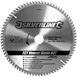 Silverline 244964 Lama per Impiallacciature TCT, 80 Denti, 250 x 30 mm, Anelli Riduttori da 25/20/16 mm