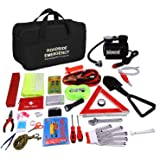 "Sailnovo Auto Emergency Kit, Multifunctional Roadside breakdown kit with Jumper Cables,Tow Rope,Triangle,Flashlight,Tire Pressure Gauges,Safety Hammer,etc (13"" x8.7"" x 6.7"")"