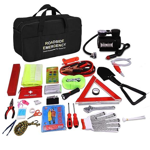Auto Emergency Kit, Multifunktionale Pannenwerkzeugsets mit Starthilfekabel, Werkzeugtasche und Pannenwerkzeug, Sicherheitswe