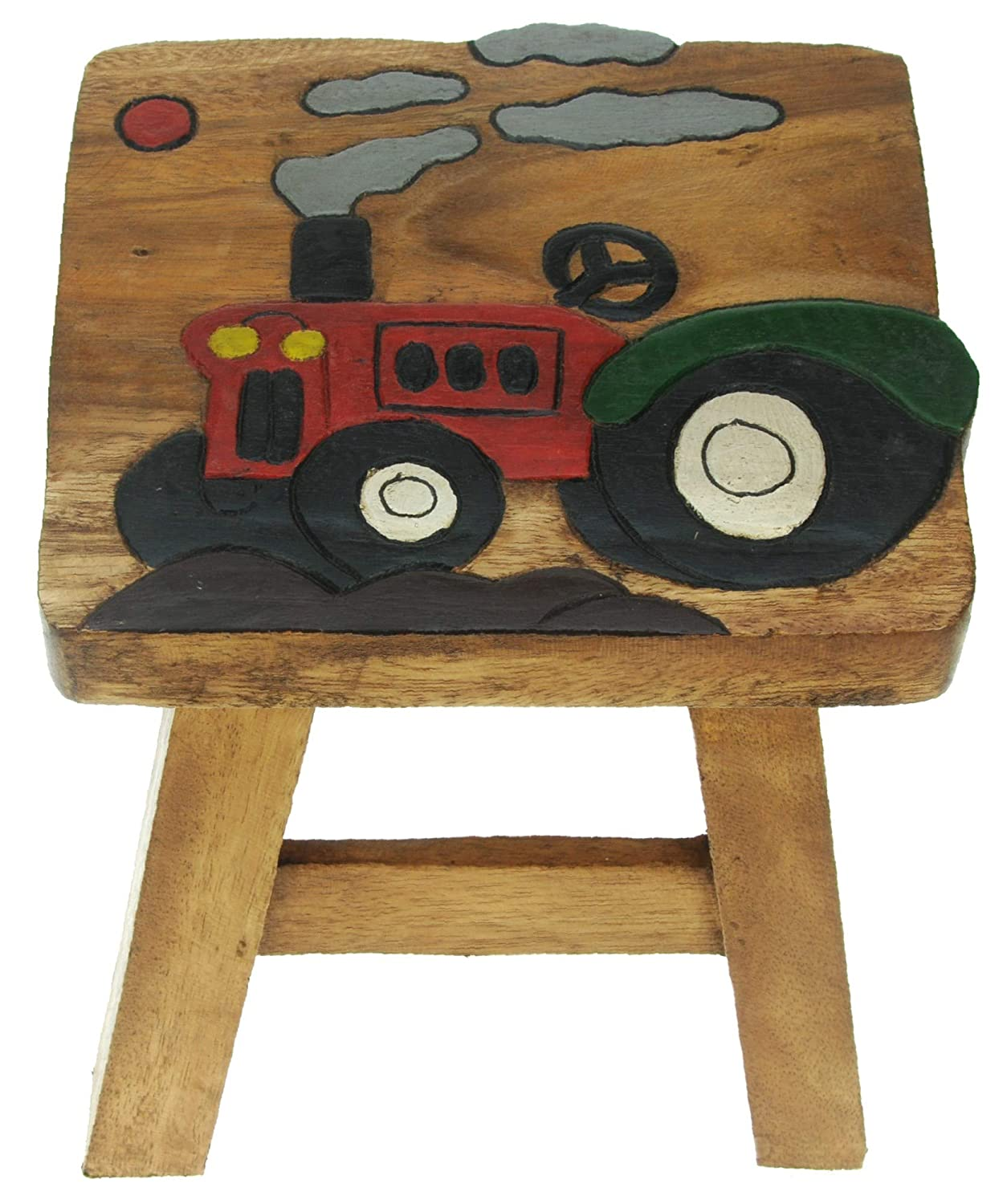 Namesakes Childrens Wooden stool - Tractor - Fun for kids - Handcrafted from Wood - Present for Boys or Girls All My Gift Ideas