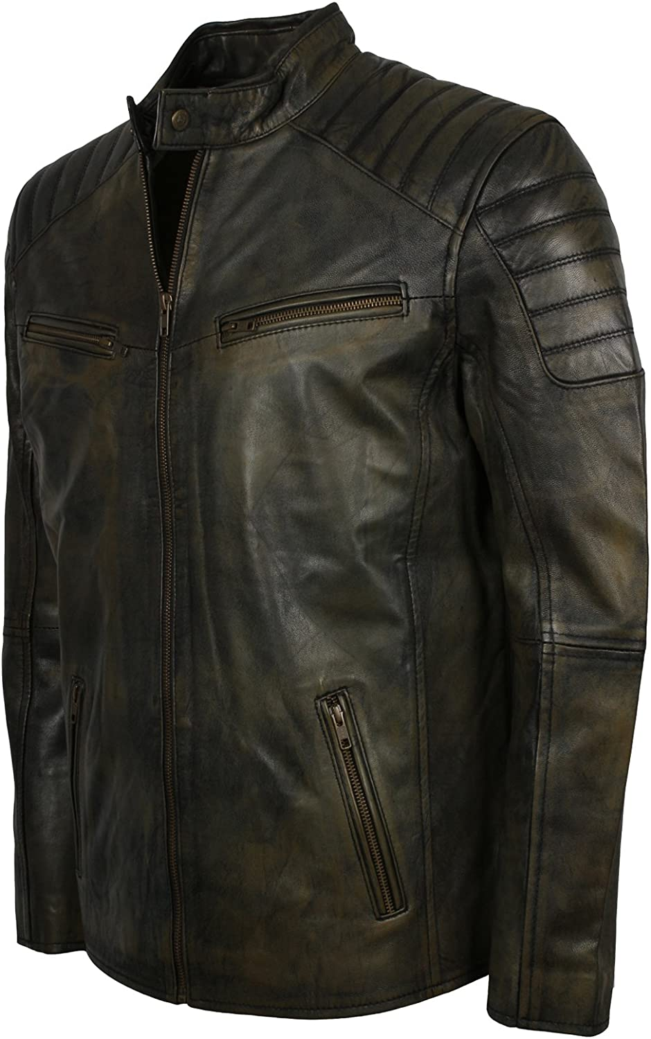 Herts Leather Mens Dirty Rust Style Black HQ Leather Jacket For Biker Men