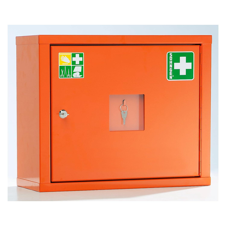 SÖHNGEN Verbandschrank nach DIN 13157 - eintürig, signalOrange, HxBxT 420 x 490 x 200 mm - mit Inhalt - Apotheke Apotheken Arzneischrank Arzneischränke Betriebssicherheit Erste-Hilfe