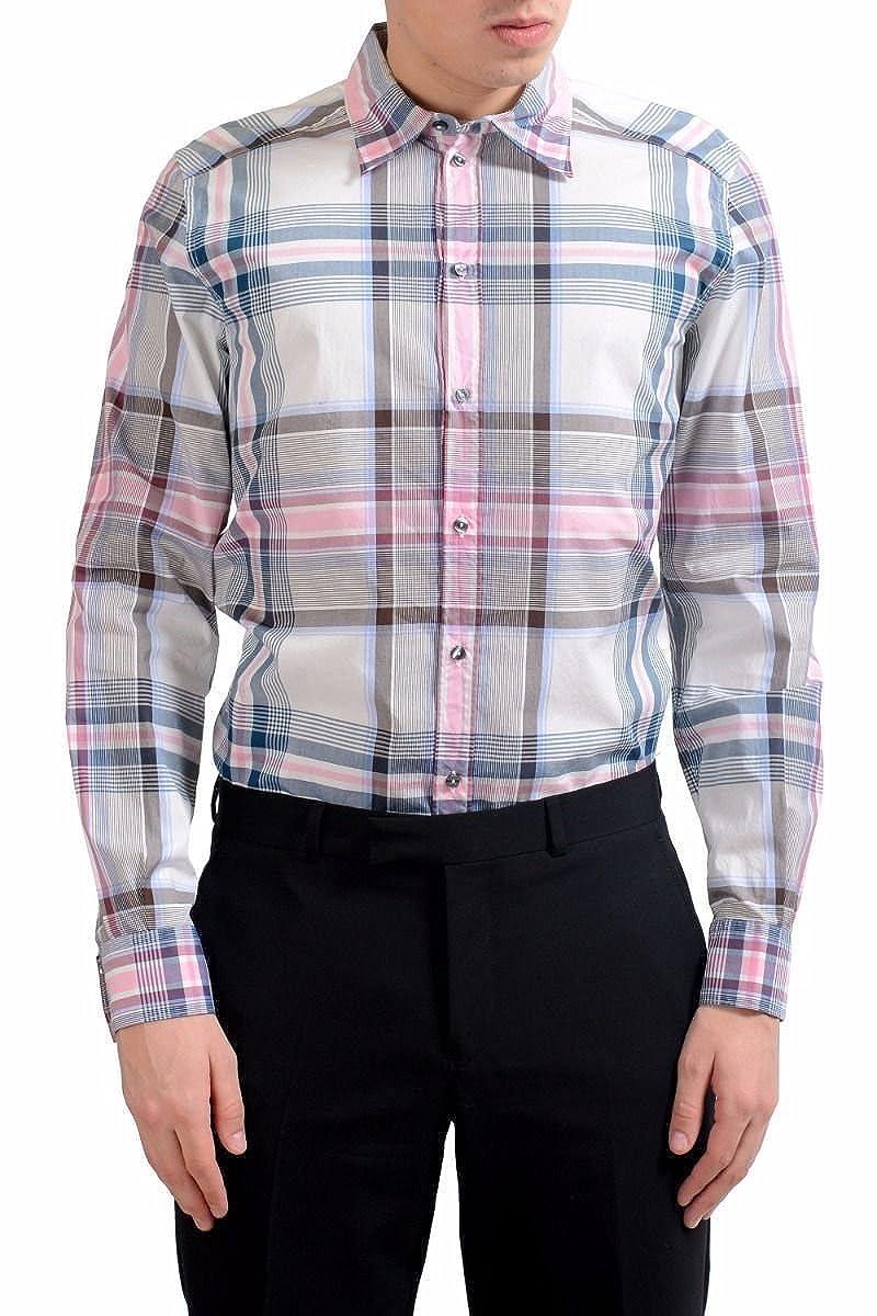 Dolce & Gabbana メンズ 金長袖格子縞のドレスシャツのサイズ B07B3ZVV8H  マルチカラー US 17 IT 43