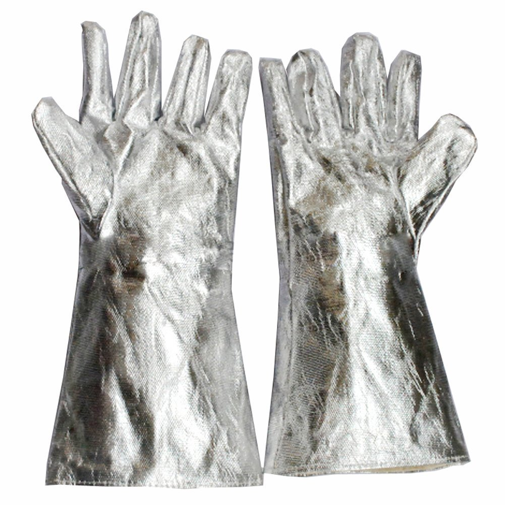 932°-1472°F Extreme Heat Resistant Gloves Welding Gloves Aluminum Foil Fiber Kitchen BBQ Gloves Oven Mitts With Fingers for Steel Manufacturing/Wood Stove/Metal Cutting YLST08 (1472°F)