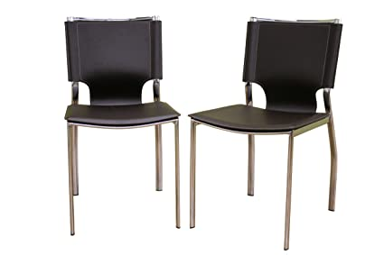 Baxton Furniture Studios Rossi Bonded Leather Dining Chair, Brown, Set Of 2