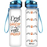 Coolife 32oz 1 Liter Motivational Tracking Water Bottle with Hourly Time Marker - Drink Your Water Right Meow - Funny Mothers Day, Birthday Gifts for Women, Cat Lovers, Cat Mom, Best Friend, Coworkers