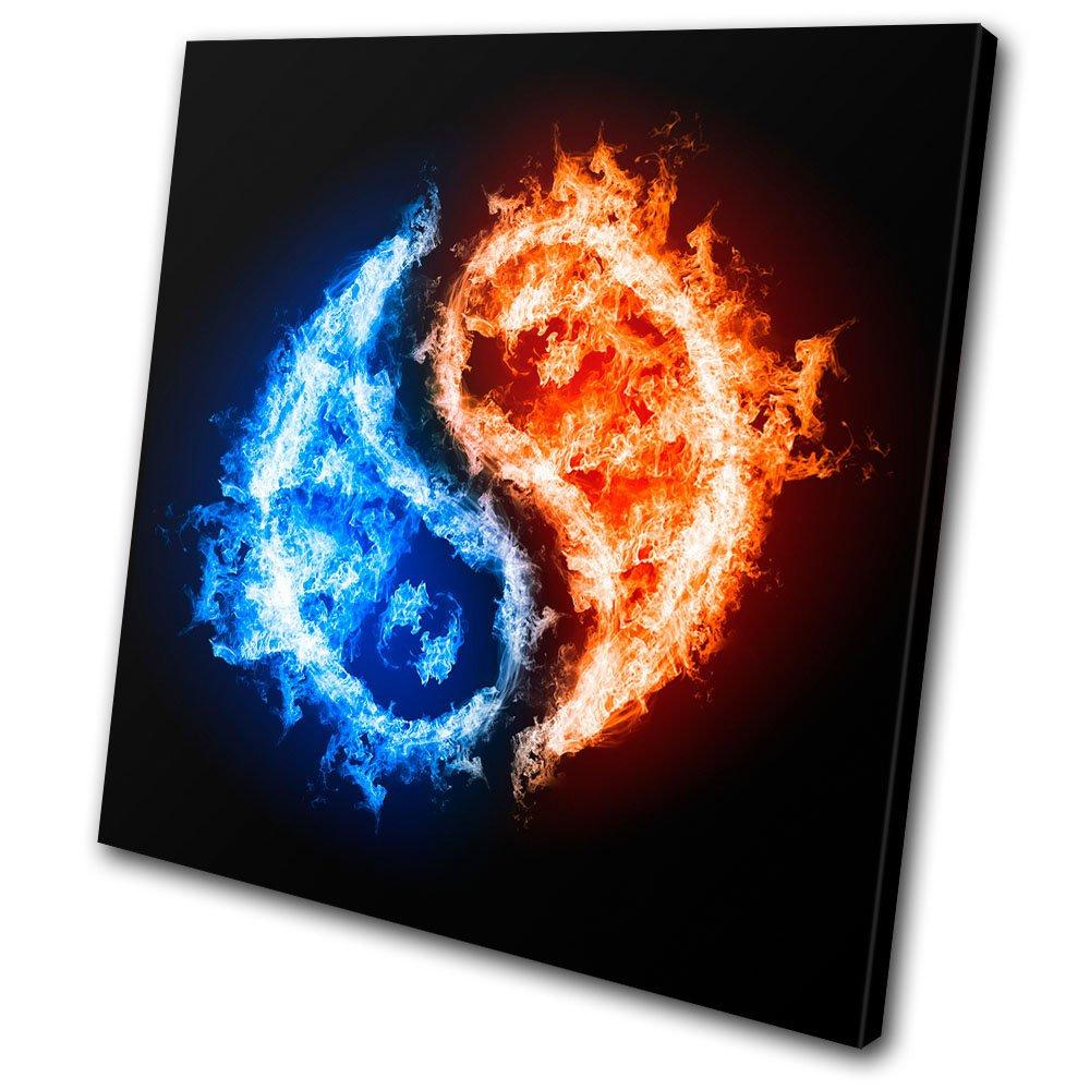 Bold Bloc Design - Abstract Ying Yang - 60x60cm Leinwand Kunstdruck Box gerahmte Bild Wand hängen - handgefertigt In Großbritannien - gerahmt und bereit zum Aufhängen - Canvas Art Print