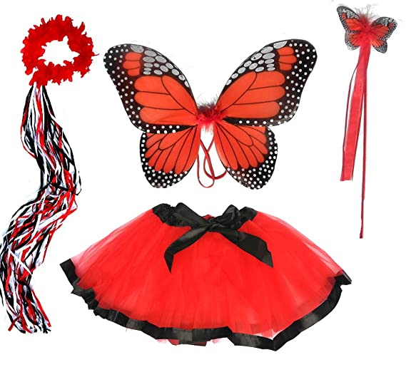 Girls Red and Black Monarch Butterfly Fairy Costume  sc 1 st  Amazon.com & Amazon.com: Girls Red and Black Monarch Butterfly Fairy Costume ...