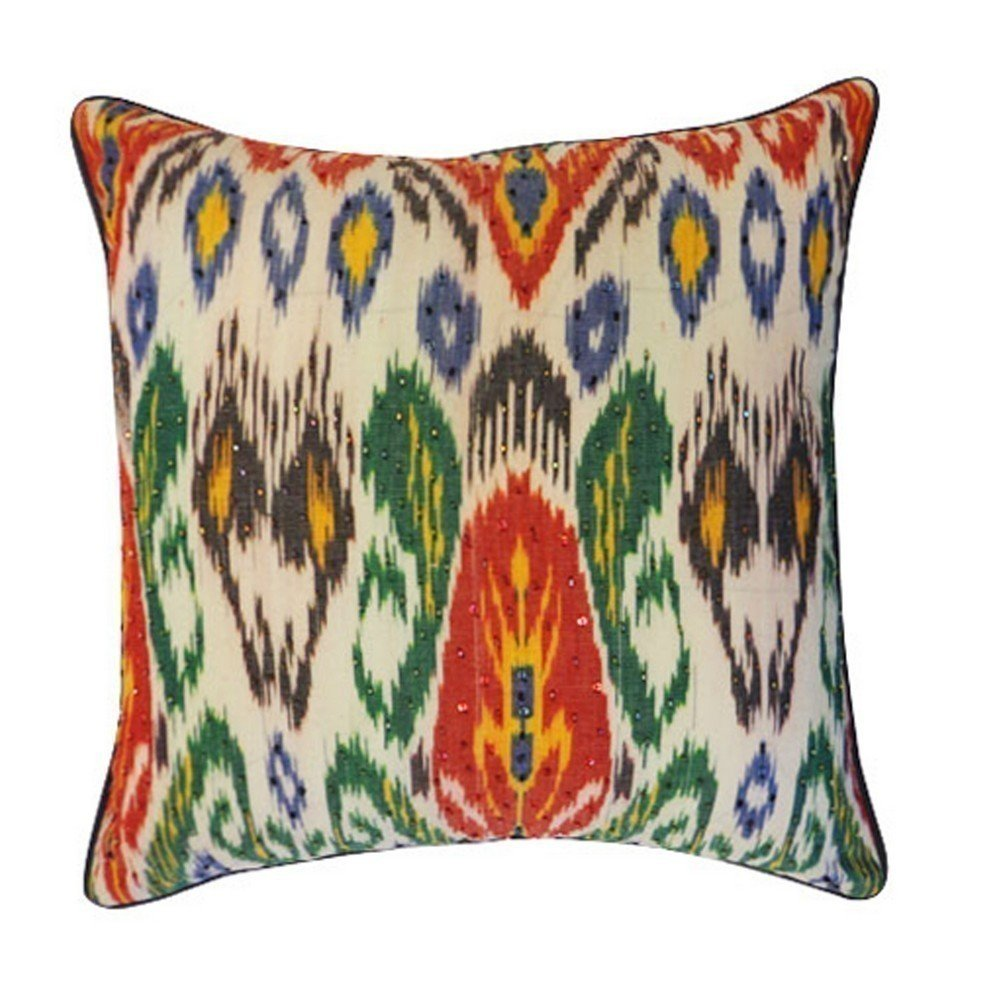 Vivai Home Green Multi Color Bombay Abstract 18x 18 Square Feather Pillow