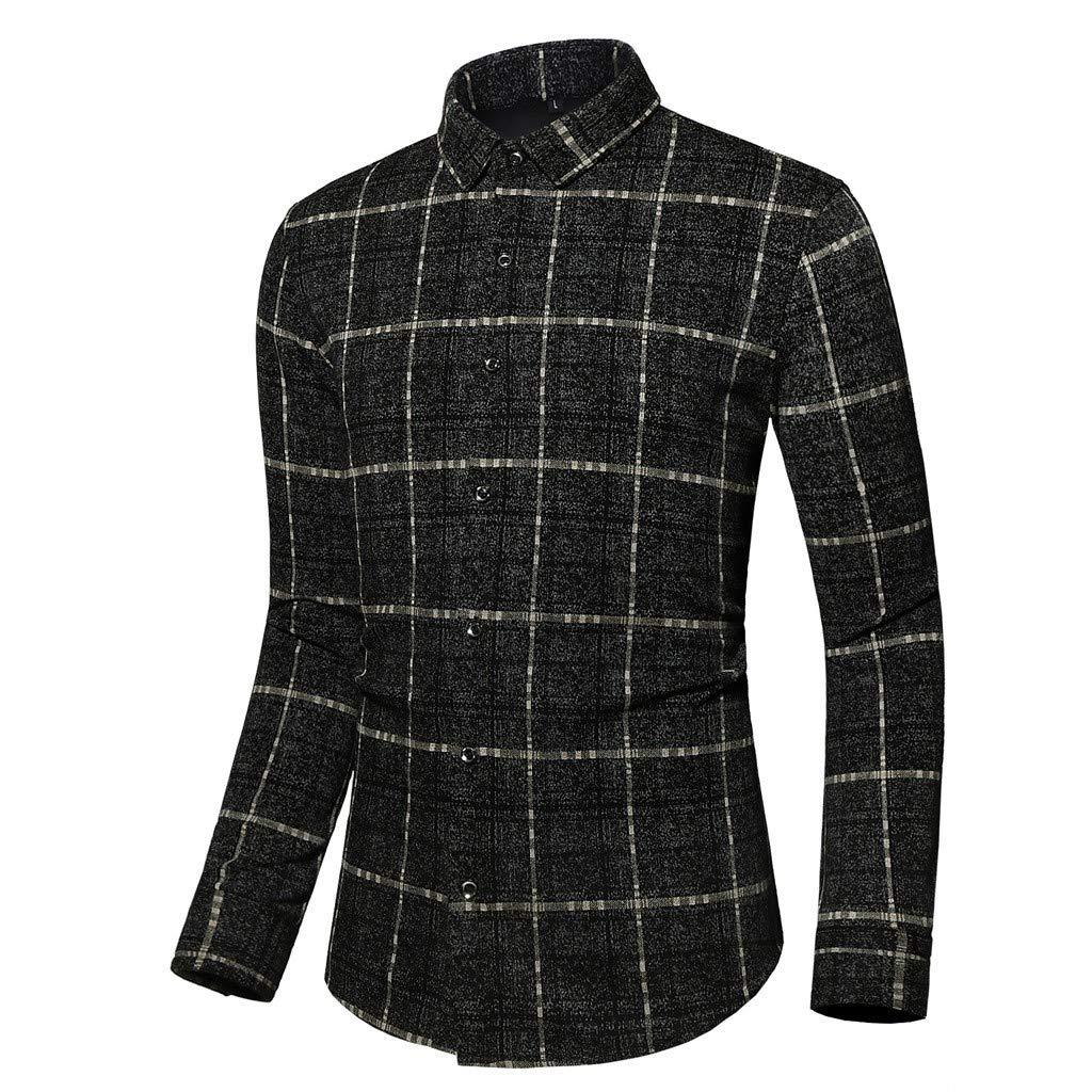 Chirpa Men's Plus Size Casual Plaid Long Sleeve Turn-Down Collar Slim Fit Dress Shirts