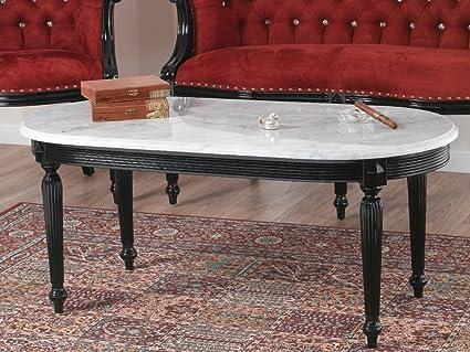Tavolino da salotto isabelle stile barocco dark nero laccato marmo