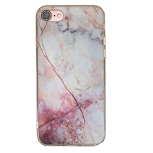 EVERMARKET(TM) Fabulous Glossy Marble Texture Pattern PC Back with Clear TPU Frame Bumper Case for Apple iPhone 7 Plus (5.5 Inch)