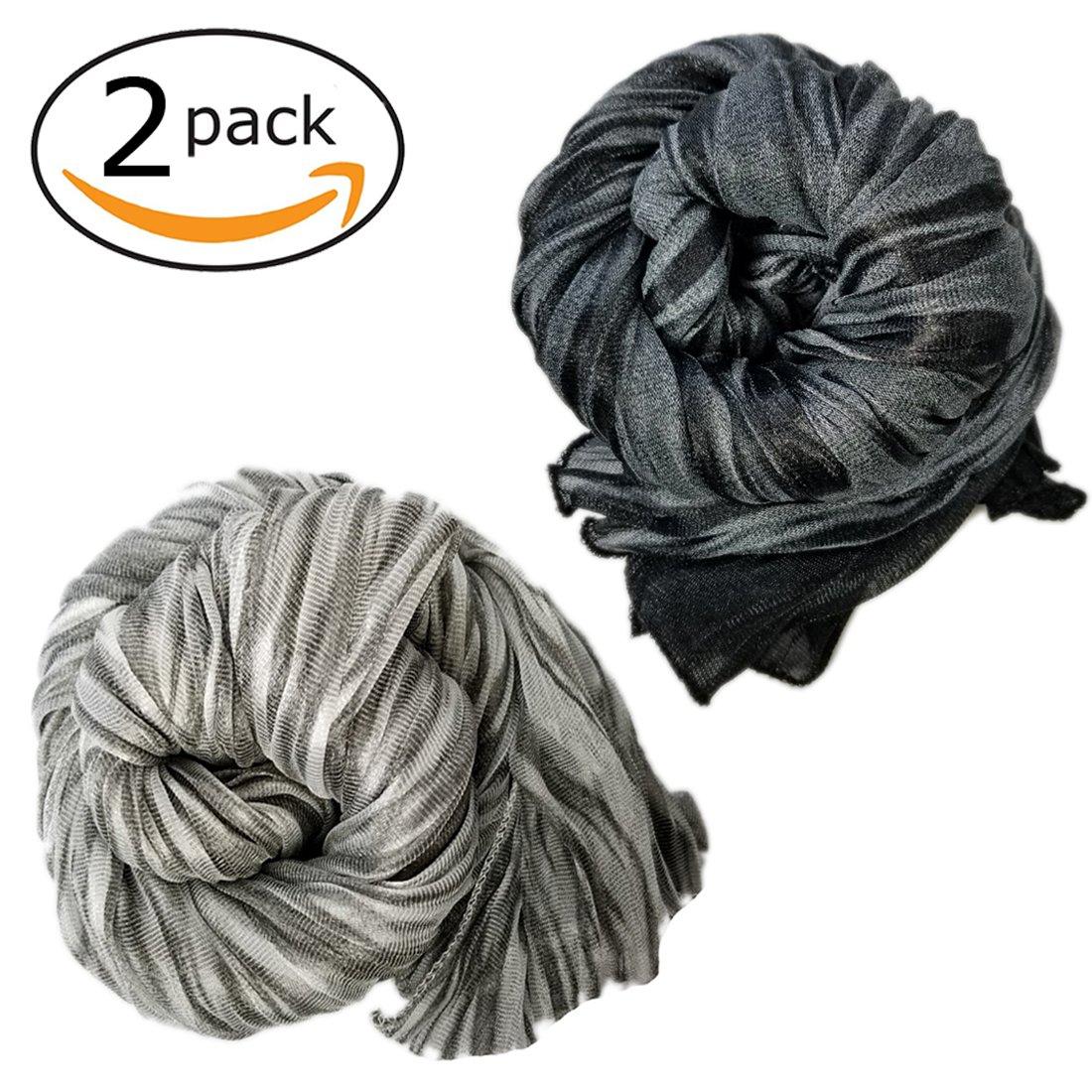 Stretch Head Wrap - Long Black Head Wrap Turban Hair Scarf Tie Color 1pcs (Tigerblackgrey)
