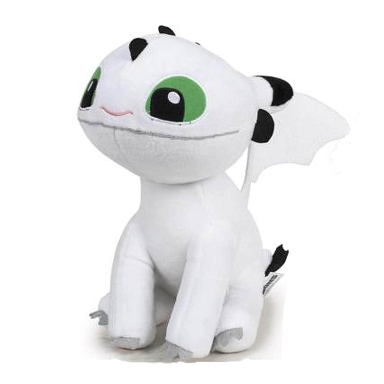 Dragón de peluche blanco con ojos verdes