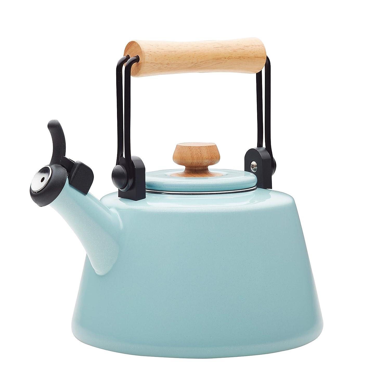 Rachael Ray 47760 1.5-Qt Enamel on Steel Teakettle, Quart, Light Blue Shimmer