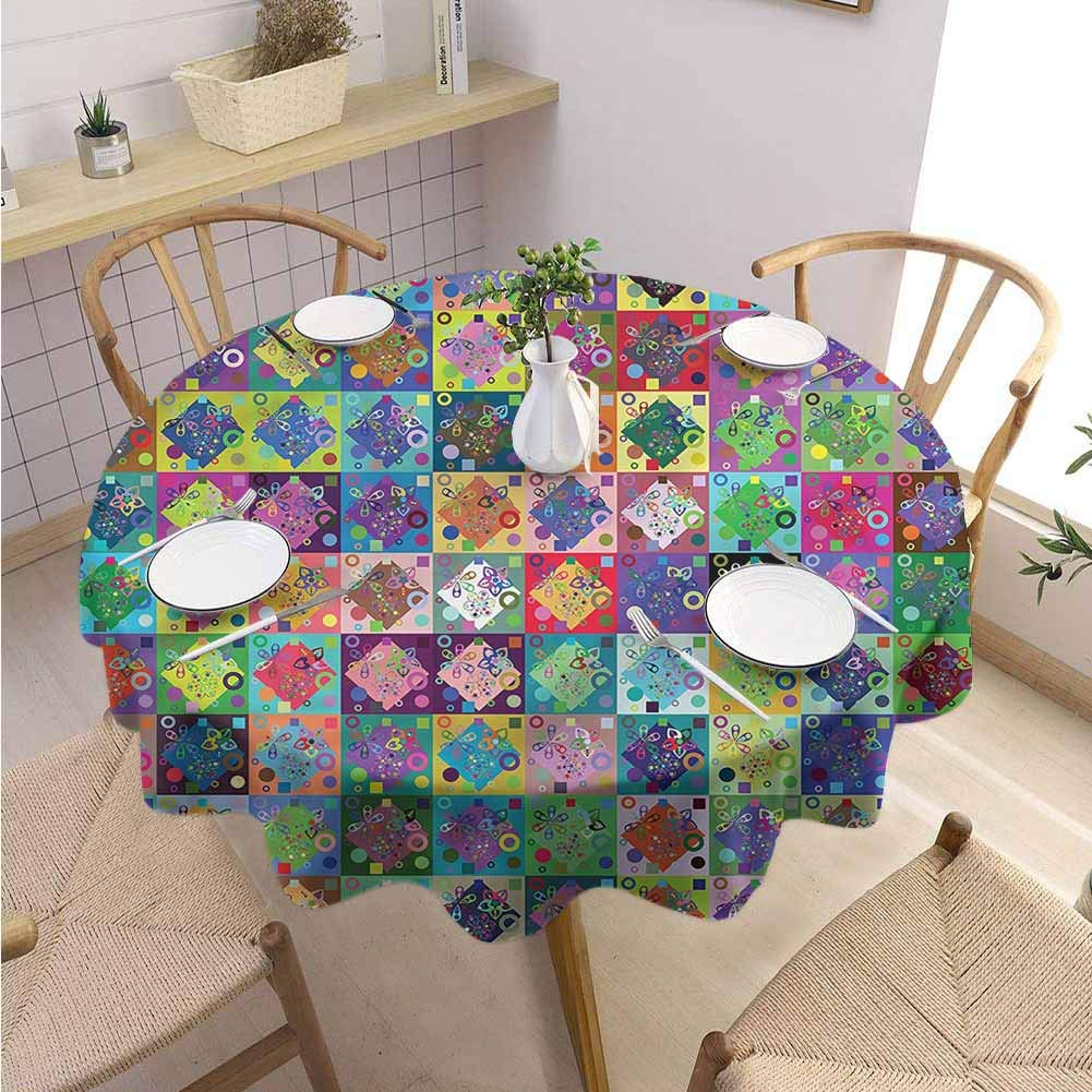 BNAREO Restaurant Round Tablecloth Patchwork Diamond Shape Flowers Wedding Patio Dining Dorm D59 by BNAREO