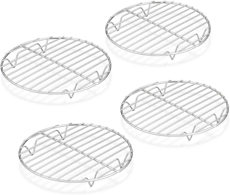 TeamFar Round Cooling Rack - 4 Pack, 7½ Inch Round Baking Steaming Roasting Rack Set Stainless Steel for Pot Air Fryer, Healthy & Mirror Finish, Dishwasher Safe & Rustproof
