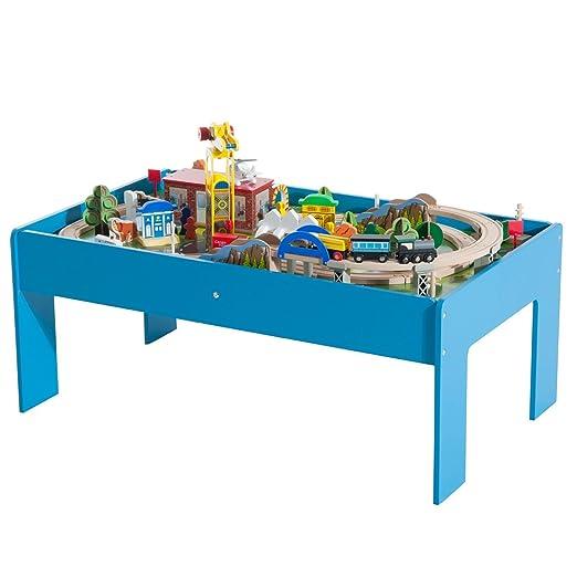 HomCom - Juego de mesa con Ferrovia para tren de madera, con certificados EN71-1-2-3: Amazon.es: Jardín