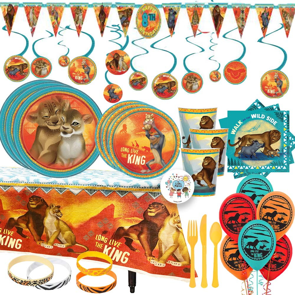 MEGA Lion King Birthday Party Supplies and Decorations Pack For 16 With Dinner and Dessert Plates, Napkins, Cups, Paper Tablecover, Banner, Swirls, Balloons, Safari Bracelets for Favors, and Pin