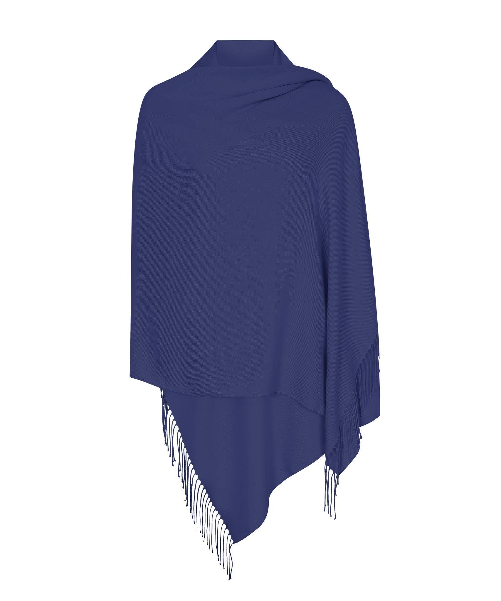 Lucky Point Blue Pashmina Shawl Wrap Scarf - Pashminas & Wraps of London - The Italian Collection - Super Soft