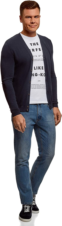 oodji Ultra Mens Button-Down Cotton Cardigan
