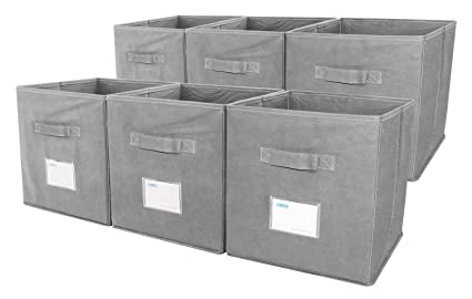 Superbe ESYLIFE 6 Pack Collapsible Storage Cube Bin With Label Holder, Grey