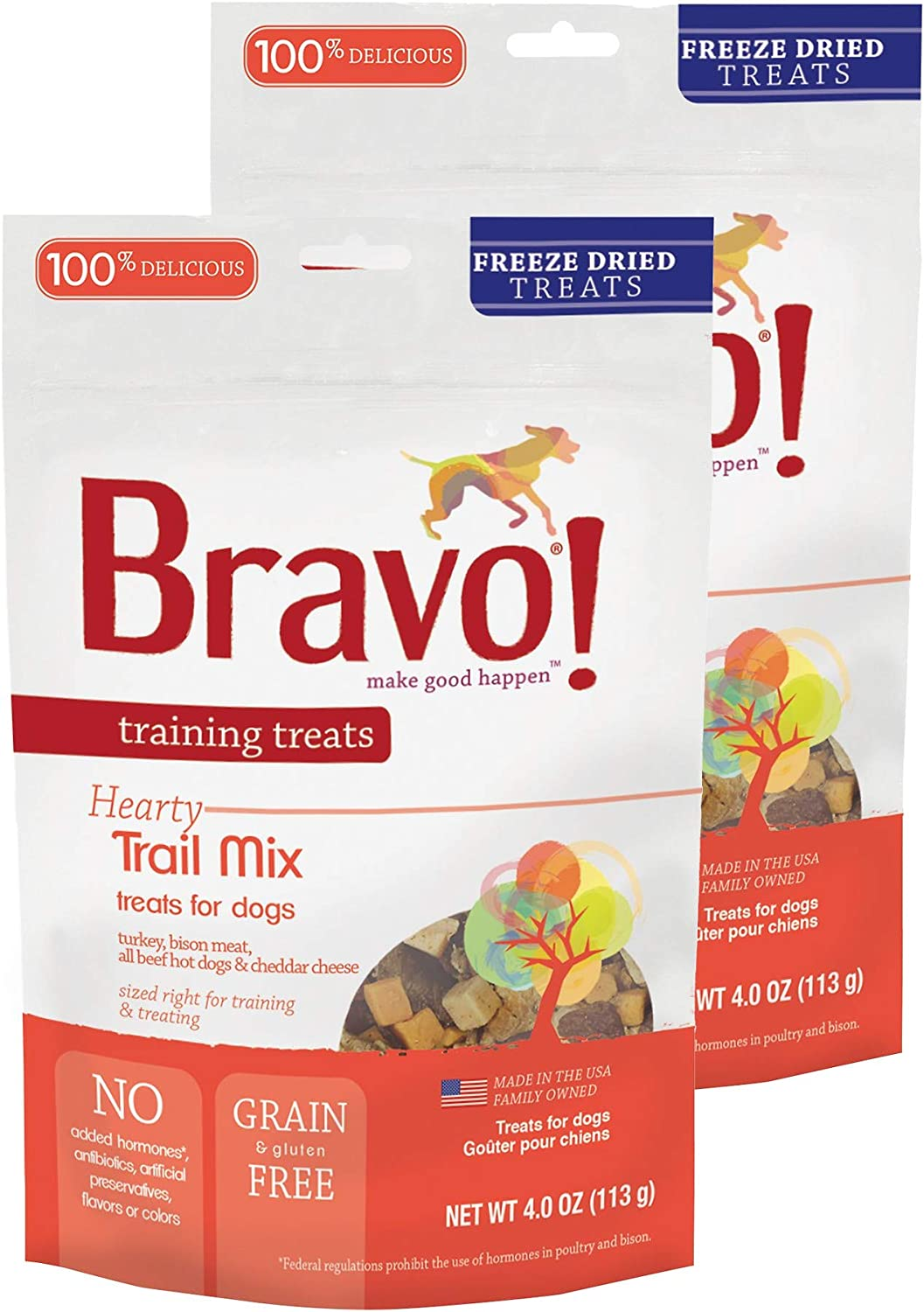 Bravo Bonus Bites Hearty Trail Mix Dog Training Treats – Grain Gluten Free – 4 Ounce Bags