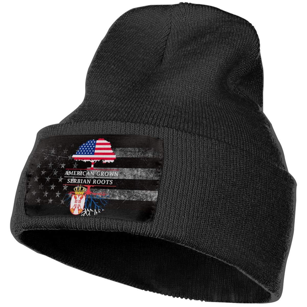 FORDSAN CP American Grown with Serbian Roots Mens Beanie Cap Skull Cap Winter Warm Knitting Hats.