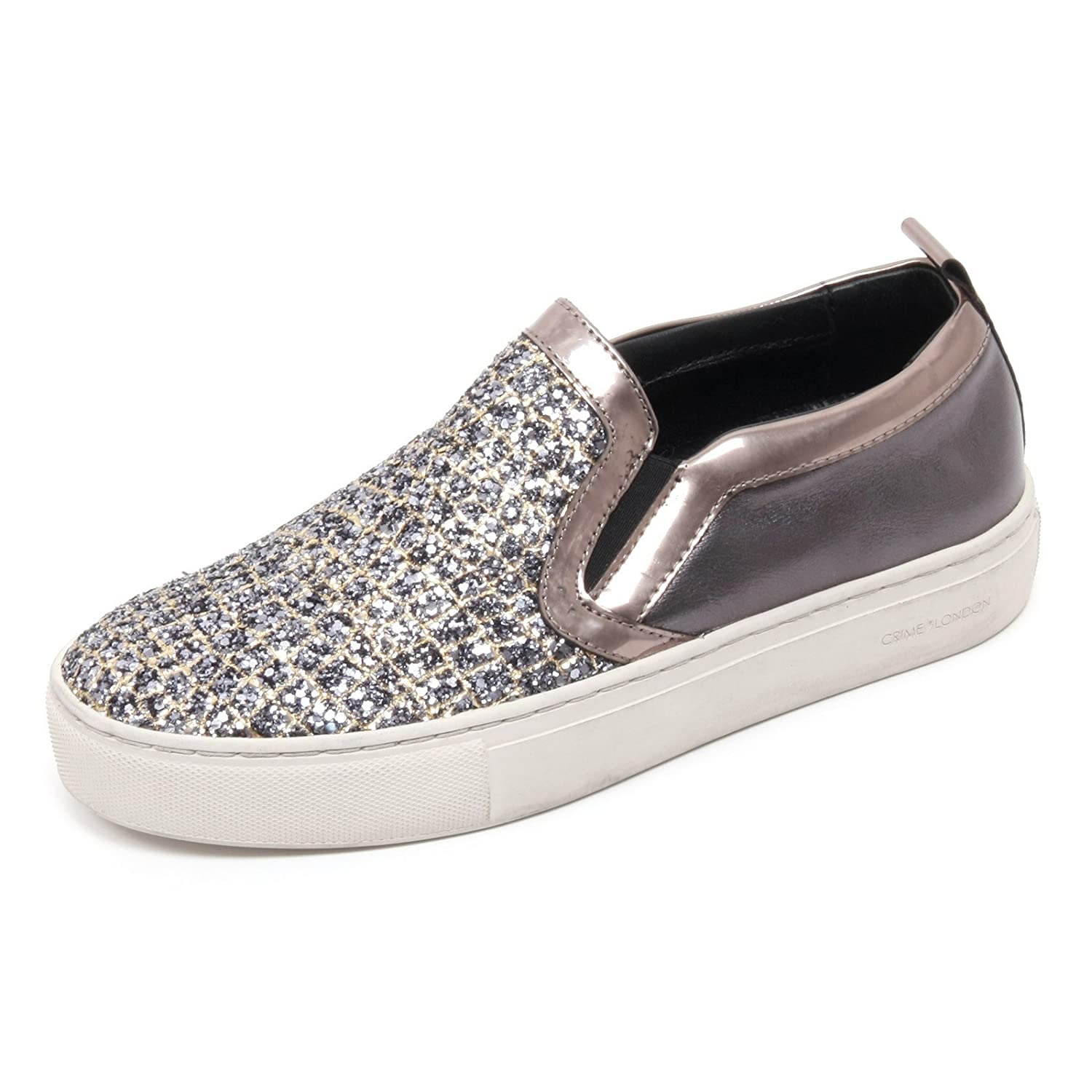 B6624 Turnschuhe damen Crime London Scarpa grau Scuro Glitter schuhe Slip on Woman