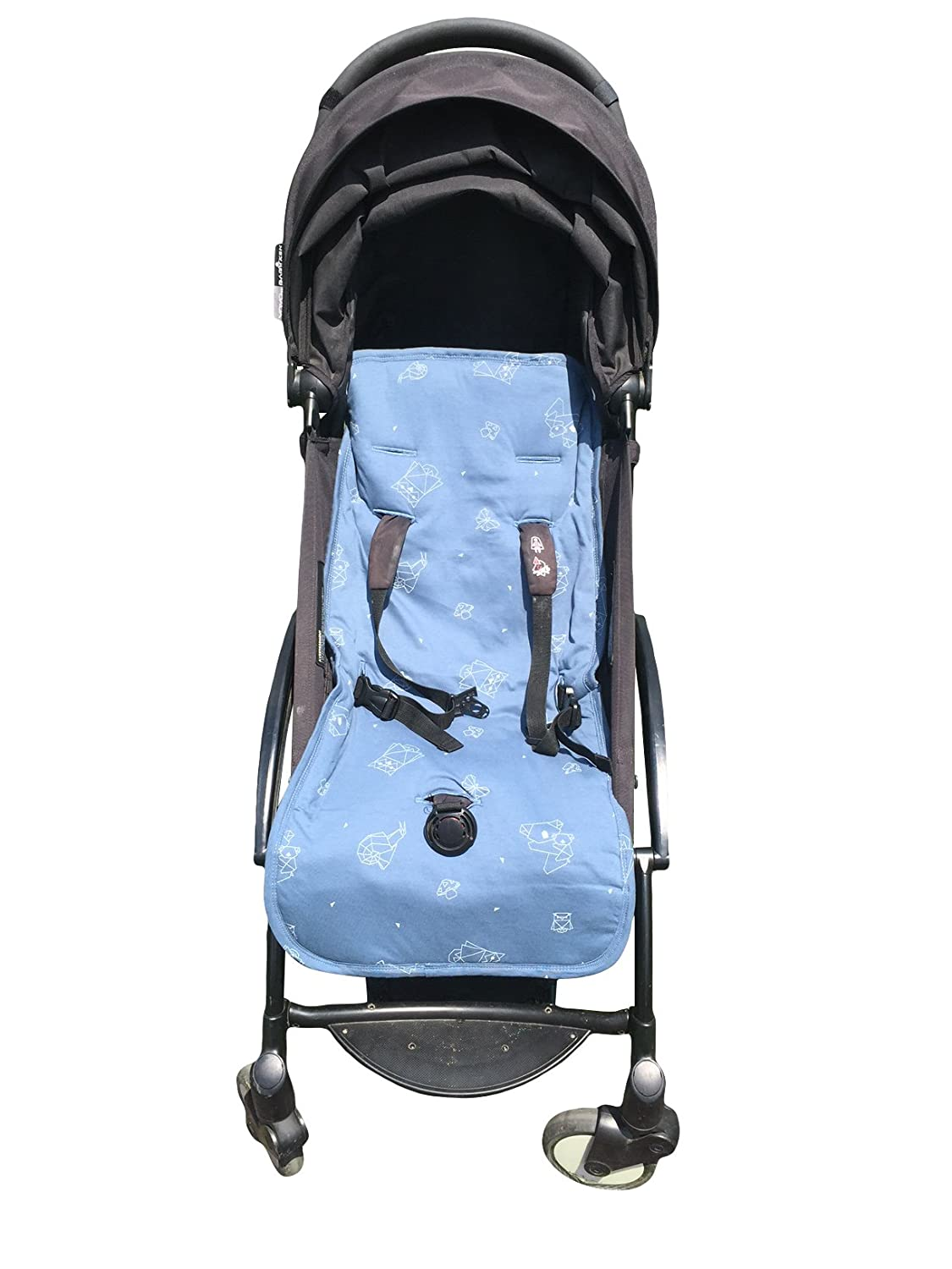Organic Cotton Stroller Liner - Extra-Soft, Breathable Cover with Soft, Synthetic Fiber Filling. Total Comfort for Baby and Toddler. Machine Washable, 31x15 inches, Off Black Kookoolon