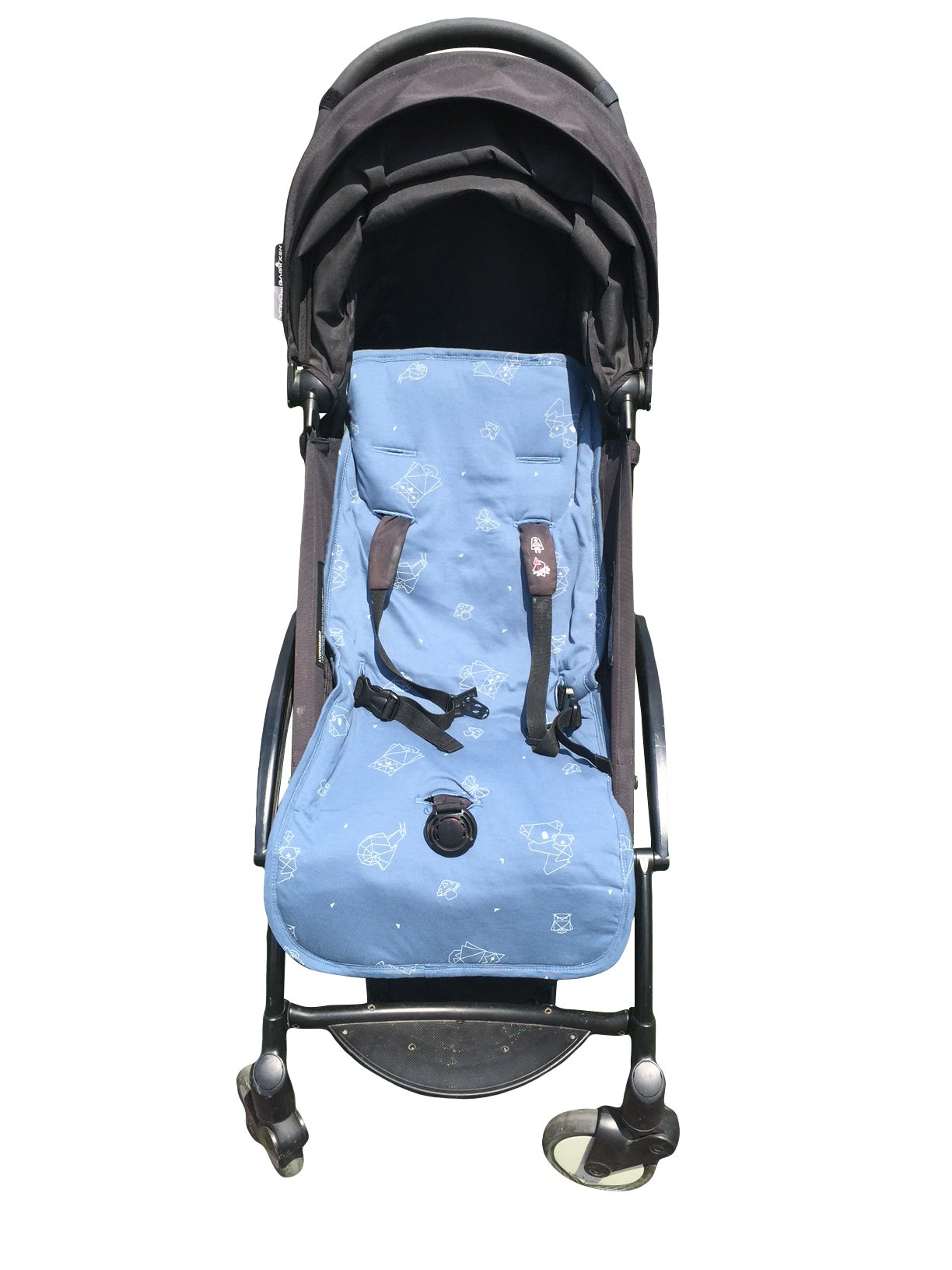 Organic Cotton Stroller Liner - Extra-Soft, Breathable Cover with Soft, Synthetic Fiber Filling. Total Comfort for Baby and Toddler. Machine Washable, 31x15 inches, Indigo Blue