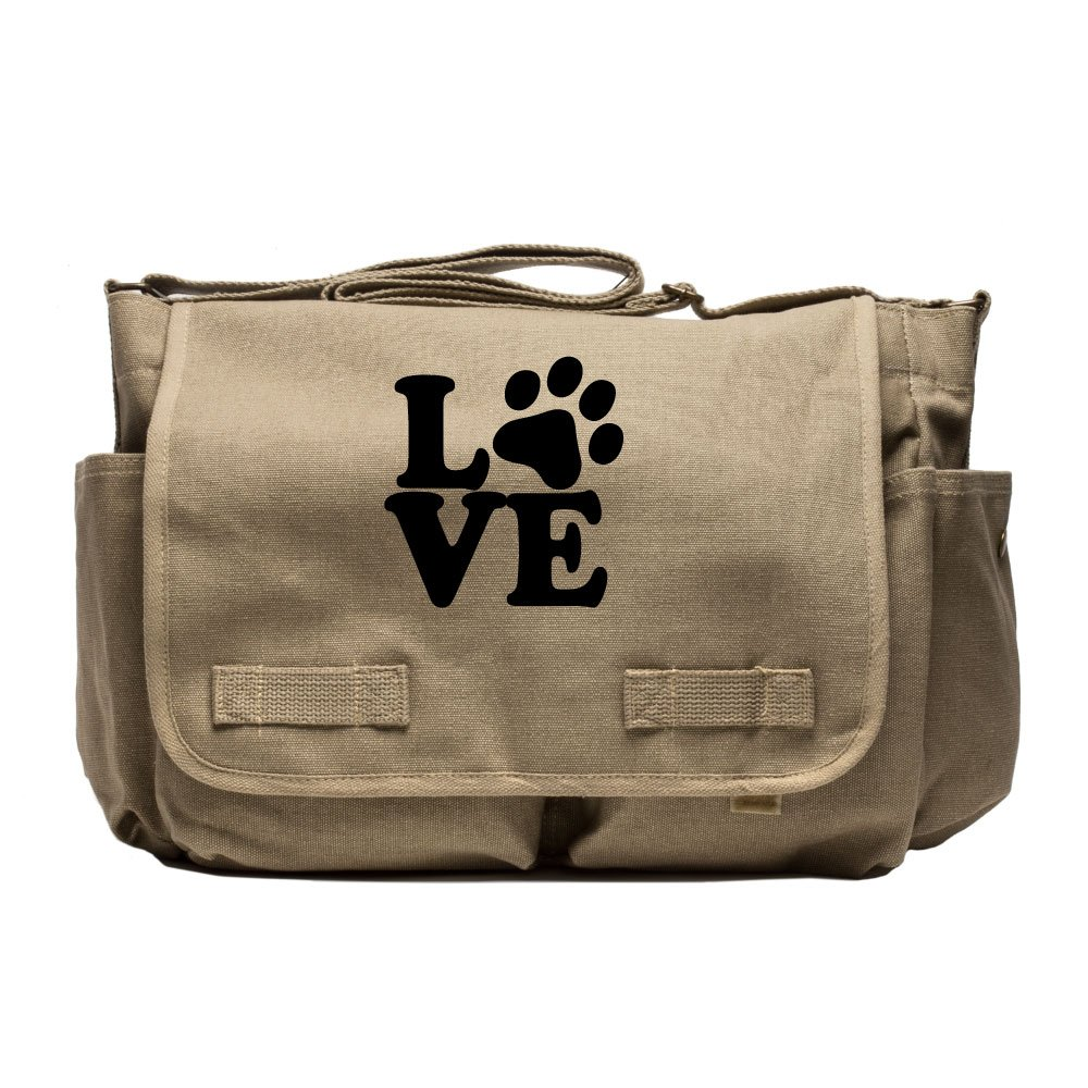 Love Dogs Army Heavyweight Canvas Messenger Shoulder Bag in Khaki & Black