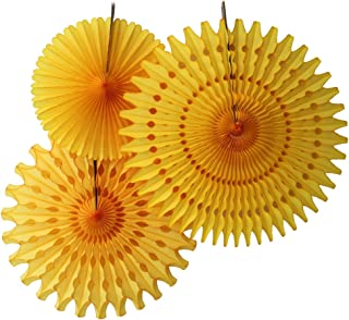 product image for Set of 3 Honeycomb Tissue Fans, Gold (13-21 Inch)