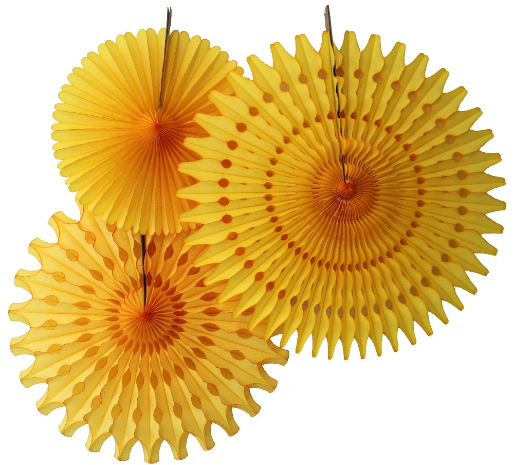 Hanging Honeycomb Tissue Fan, Gold, Set of 3 (13 inch, 18 inch, 21 inch)