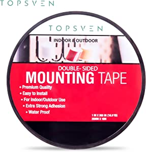 Topsven tape Double Sided Mounting Tape - Easy Removal & Residue Free - Black Acrylic Adhesive Tape - 1 INCH X 393 INCH (10 Yards)