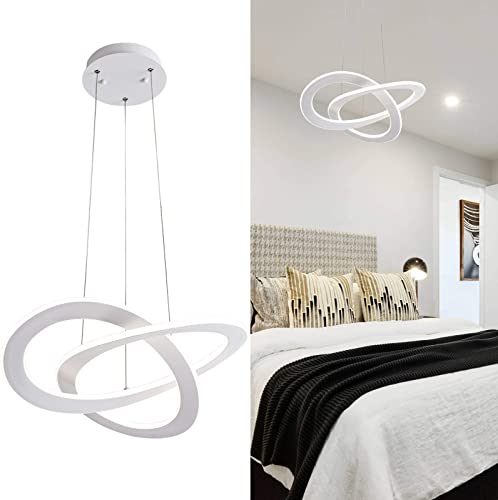 Larootsi Modern LED Pendant Light Irregular Ring Chandeliers 40W Dimmable 4000k