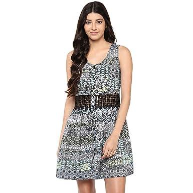 bf7083a79a983 Abiti Bella Women's Multicolor Midriff Lace Panel Print Dress ...